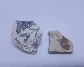 sea worn pottery butterfly's,genuine surf tumbled scottish beach finds,vintage pottery unique butterfly.