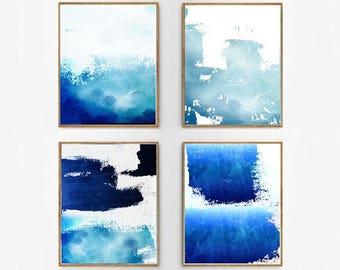 Art abstrait de mur bleu Indigo du Set-aquarelle grand marine impressions minimaliste art Minimal contemporain Modern art Paint