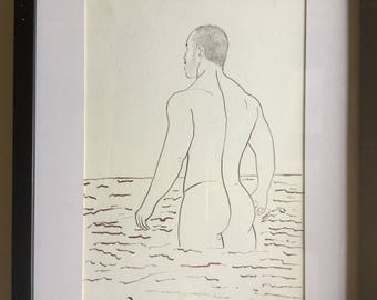 Original Drawing of nude man ink of china Gay interest erotic nude drawing ink