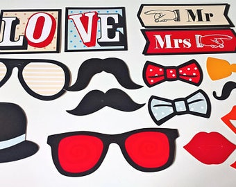 Photo booth props, wedding props, party props, decoration props 15 pcs