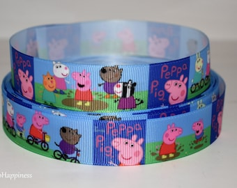 "Peppa Pig 1"" Grosgrain Ribbon 509 By the Yard"