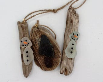 driftwood and sea glass Christmas decorations