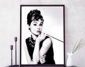 Audrey Hepburn poster,  Audrey Hepburn print. Fashion icon, Breakfast At Tiffanys Poster. Fashion Wall art Audrey Hepburn art. Free shipping