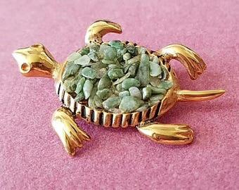 Vintage Gold Tone Turtle Brooch w/ Green Aventurine Stones
