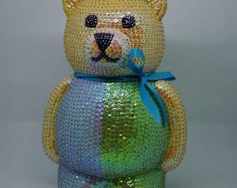 Decoration - teddy made from sequins - teddybear - bear - deco