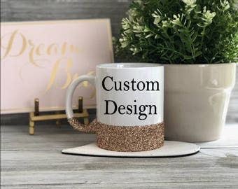Custom Coffee Mug, Glitter Dipped Mug