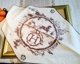 Voyage d'Hermes/ crepe silk scarf. Losenge form.