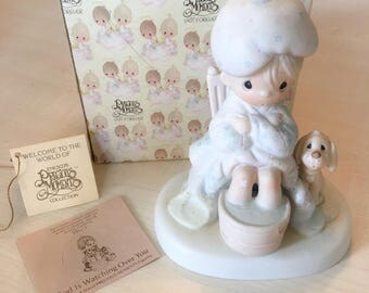 Vintage Precious Moments God Is Watching Over You Figurine E-7163