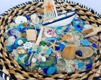 Ocean Sensory Bin, Treasures of the Sea Loose Parts, Sensory Basket, Waldorf Nature Table, Montessori Classroom, Reggio Emilia Inspired