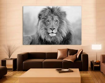 Delicieux African Lion, Black And White Lion Print, Canvas Print. Lion Wall Art,