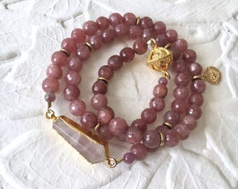 Loving Vibes strawberry Quartz wrap bracelet or necklace with magnetic clasp