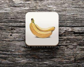 Banana Illustration On COASTER ; 8.5 x 8.5 cm ; Watercolor Painting ; Cork Backed Coaster ; Kitchen Accessory