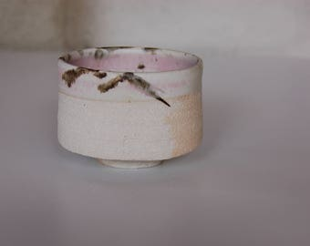 Porcelain bowl grog with pink and white, speckled with black satin enamel