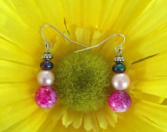 Handmade Pink Swirled Earrings With Pink/Silver/Green Acrylic Beads