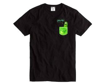 Pickle Rick Portal Pocket Black T-Shirt Rick and Morty funny cartoon shirt top