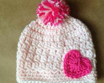 Pink Hat with Heart and Pom Pom