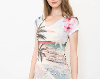 Florida, Florida State,Scenic Florida T-shirt,Beach Tee, Women's Tee,Women's T-shirt, Palm Trees and Sunset,Tropical V-neck,Scenic Beach Tee