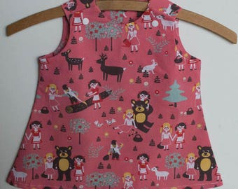 Pink dress from 6 months to 8 years old girl bear organic cotton Poplin