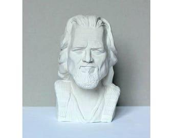 Jeffrey Lebowski handmade bust, The Dude gypsum bust, The Big Lebowski cult film hero figurine, played by Jeff Bridges, white