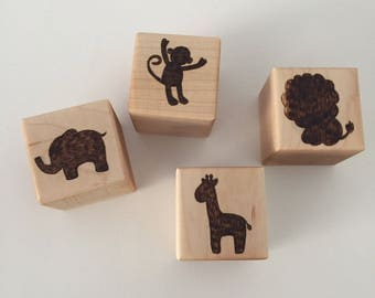 Natural Wood Blocks, Baby Blocks, Learning Toys, Kids Toys, Safari Animals, Nature, Baby Shower Gift, Personalized Blocks, Montessori Toys