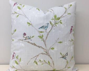 Linen Bird Pillows, Linen Pillow Case, Boho Pillow, Linen Cushions, Shabby Chic, Decorative Pillow, Throw Pillows, 18X18 Linen Pillow Covers