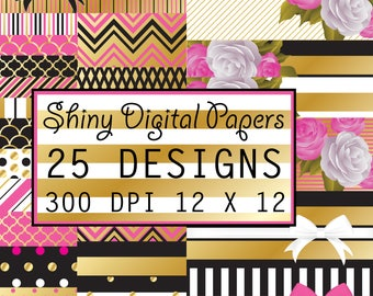 Kate Spade Inspired Pink Black & Gold - 25 Printable Digital Scrapbooking Papers - 12 x 12 300 DPI - COMMERCIAL USE Ok!