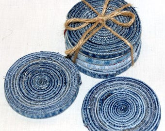 Denim Coasters,  Blue Jeans, Repurposed, Reclaimed, Refashioned Blue Jeans, Recycled, Upcycled Denim