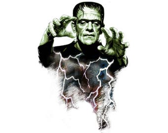 T-SHIRT: Frankenstein / The Monster - Classic T-Shirt & Ladies Fitted Tee - (LazyCarrot)