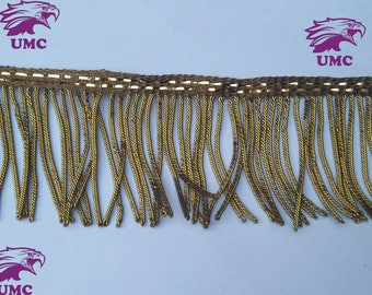 6cm Antique Gold Bullion wire fringe,fringe,Metal fringe,Decoration,Vestment,church,Trim,Tassel, 6cm fringe plus 1cm top ribbon,NEW