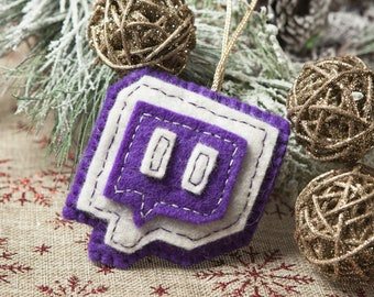 Felt Twitch Christmas Ornament – Hand Made.  Perfect Gift for Twitch Streamers - Gamer Holiday Gifts + Geeky Decor - Gifts for Gamers = Geek