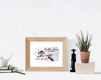 5 x 7 original crane print   totem bird spirituality honoring ancestors 5 x 7 (12 x 17 cm) print