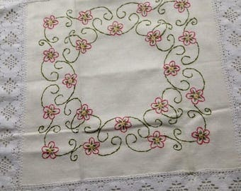 Vintage Swedish Handembroidered Cloth with lace