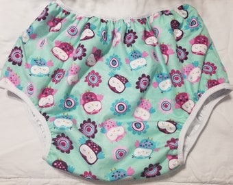 Adult Baby Diaper Cover Plastic Pants Owls Print ABDL