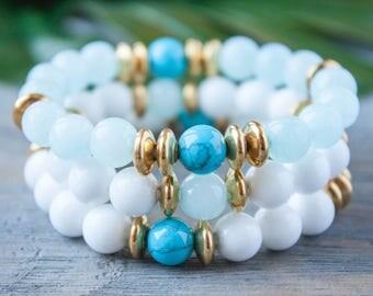 Sister Bracelet Moms Bracelet Christmas Gift BFF Bracelet Girlfriend Bracelet Jade Beads Amazonite Turquoise Clear Blue Stack Gift for Her
