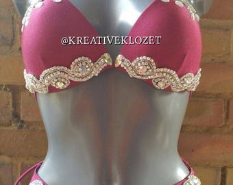 Red Bespoke Bling Bikini Costume