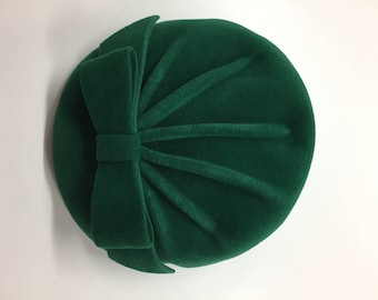 Vintage Pillbox Wool Forest Green and Blue Women's Hat
