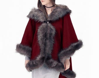 Elegant red or black and grey half-woolen cloak with high quality faux fur - made by Irena Fashion