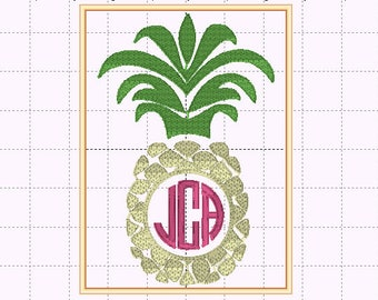 Pineapple Monogram Design - Circle Monogram Design - INSTANT DOWNLOAD - Embroidery Design - Sizes 4x4, 5x7 - Font NOT included