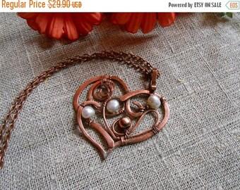 sale Copper heart Heart copper Copper pendant  Pendant copper  Heart with pearl Heart pendant Pendant with pearl Copper jewelry Wire wrap je