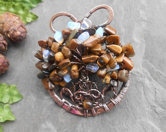 Copper wire wrap necklace Forest flora Natural stones Metal tree pendant Tree of abundance Tree of life Pagan amulet Slavic amulet protect