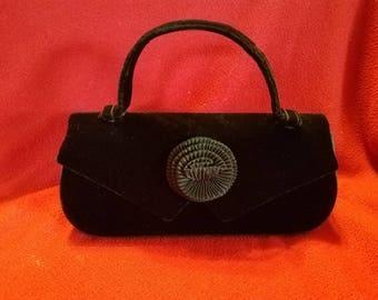 Vintage La Regale Handbag Black Velvet Clutch Purse Flower Ribbon