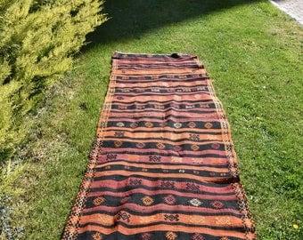 Natural Dyed Organic Wool Vintage Kilim Rug 3.2 x 11.3 feet Free Shipping Turkish Kilim Rug Needle Embroidery Motifs Kilim Rug DC820