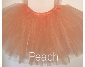 Flower girl tutu, peach tutu, tutu skirt, Christmas wedding tutu, tulle skirt,  bridesmaid tutu, floor length tutu, ballet tutu, gre