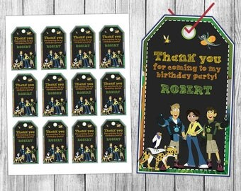 Wild Kratts Thank You Tags, Wild Kratts Favor Tags, Wild Kratts Gift Tags, Wild Kratts Tags, Tag Printable, Birthday Tags, Printable Tags