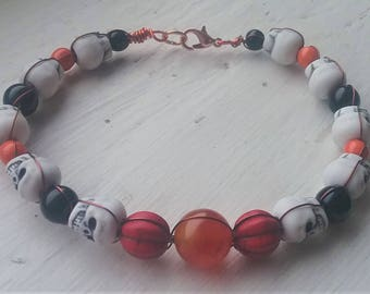 Red Pumpkin Skull Bracelet