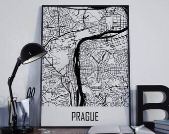 Prague Map Prague Street Map Prague City Map Prague Travel Map Prague Map Poster Prague Map Photo Prague Map Print Prague Map Art Unframed