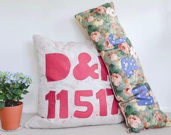 Bespoke, personalised giant floor pillow,  large bolster cushion, vintage floral fabrics, personalised wedding gift, bespoke wedding present