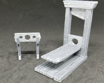 Guillotine and Stocks - 3D Printed 28mm Scale