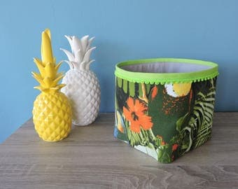 tropical green fabric storage basket