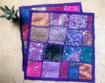 Boho Pillow Cases, Purple Decorative Throw Pillows, Made in India // SALE